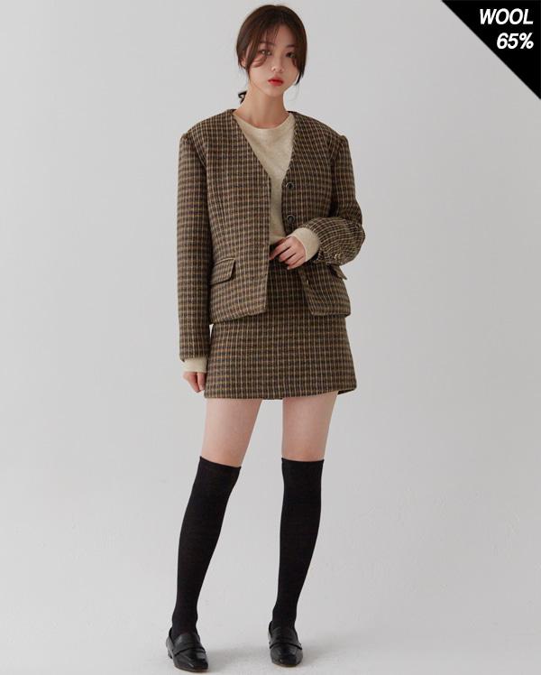 wool set-up single check jacket
