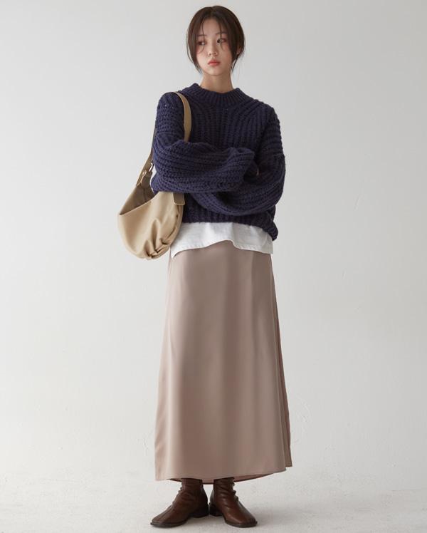 alpaca half neck balloon knit