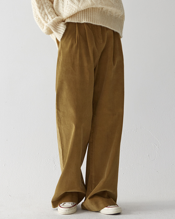 corduroy pintuck detail wide pants (s, m)