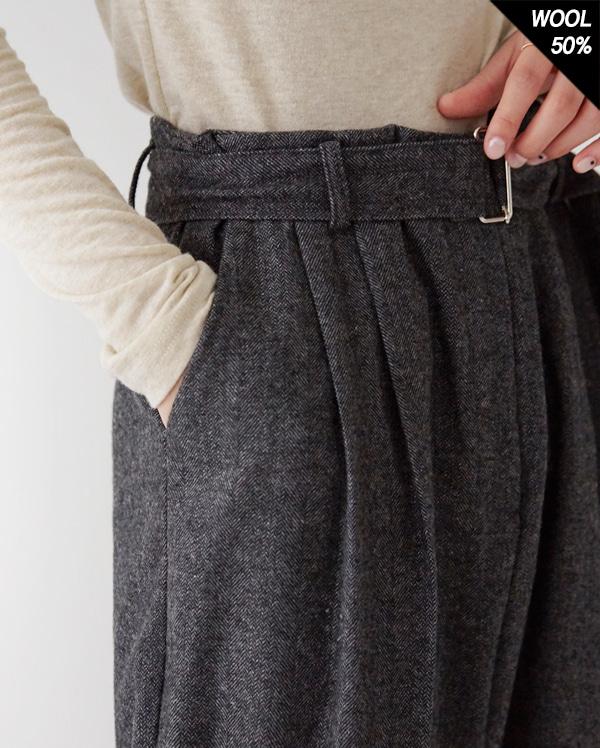 crush pintuck belt long slacks (s, m)