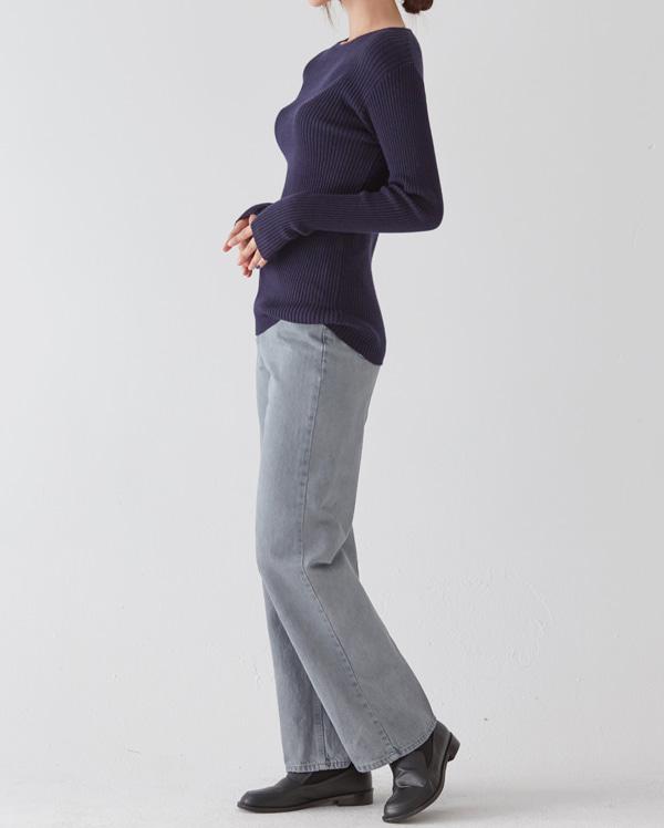 slim fit gray washing denim pants (s, m, l)