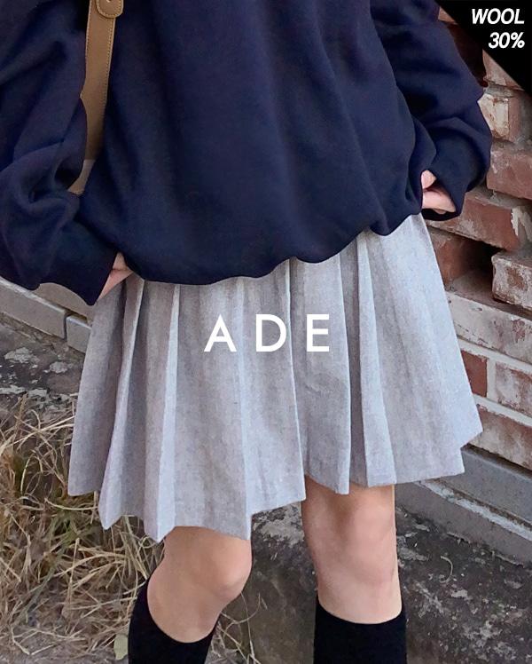 winter pleats wool mini skirt (s, m)