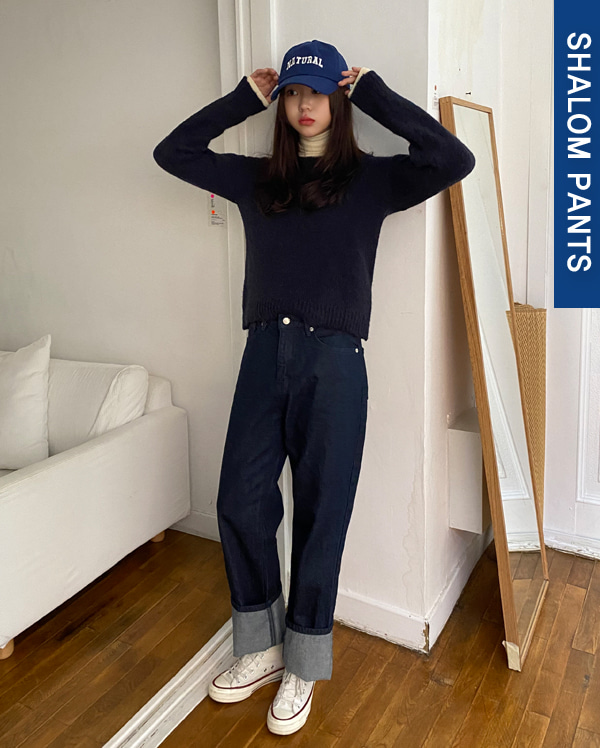 most wide indigo denim pants (s, m, l)