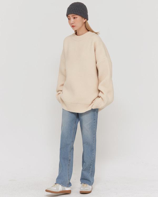 unisex natural round knit