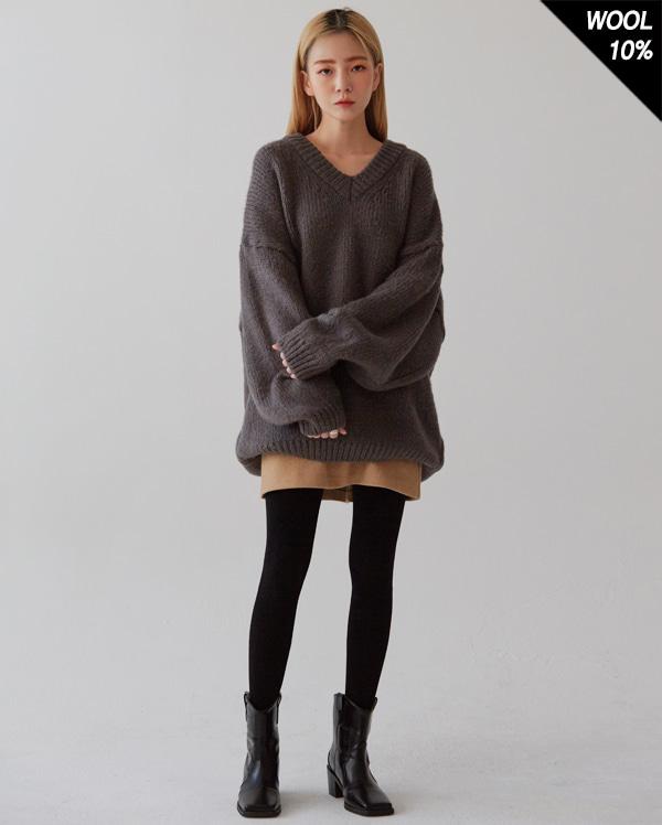 think v-neck wool knit