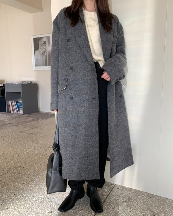 wool combine maxi double coat