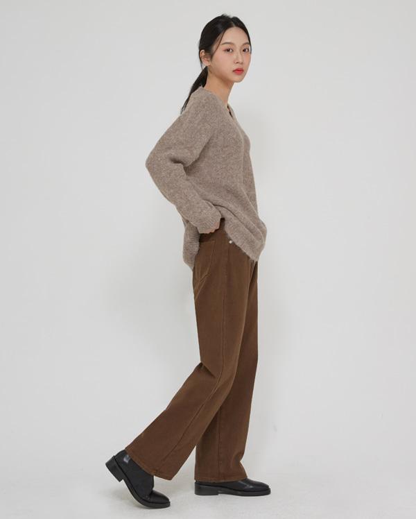 edge wide cotton pants  (s, m)