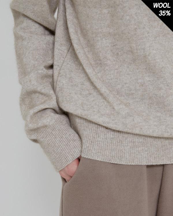 half neck raccoon knit