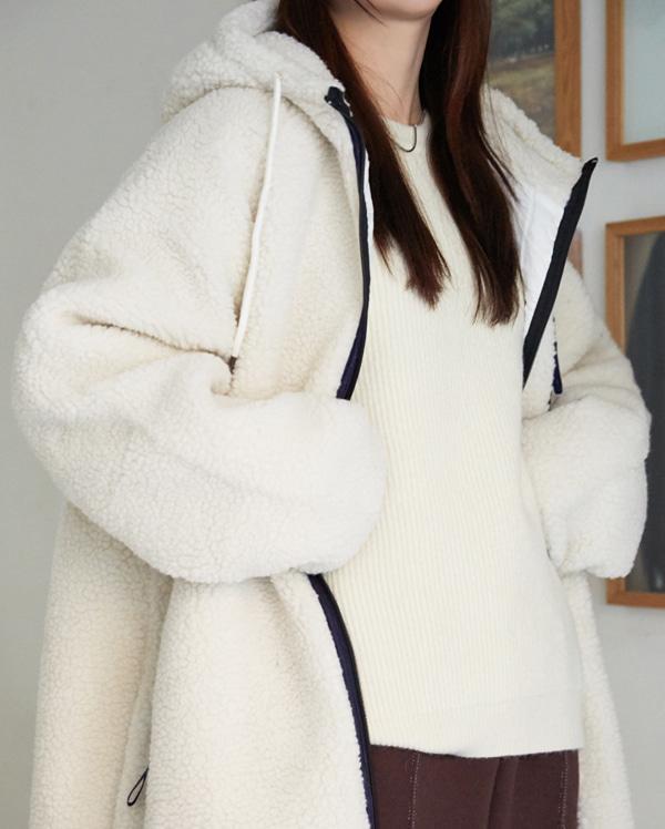natural hooded long fleece jumper