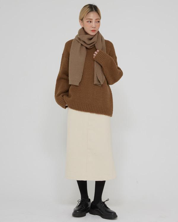 texture peach slit long skirt