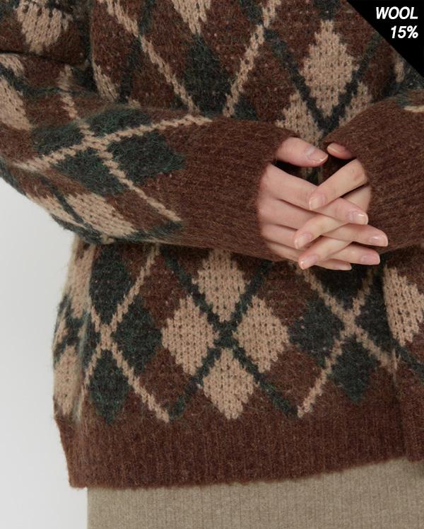 a look argyle round knit
