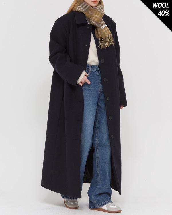 wool combine maxi single coat