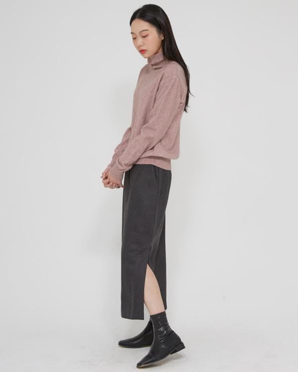 a slit H-line long skirts