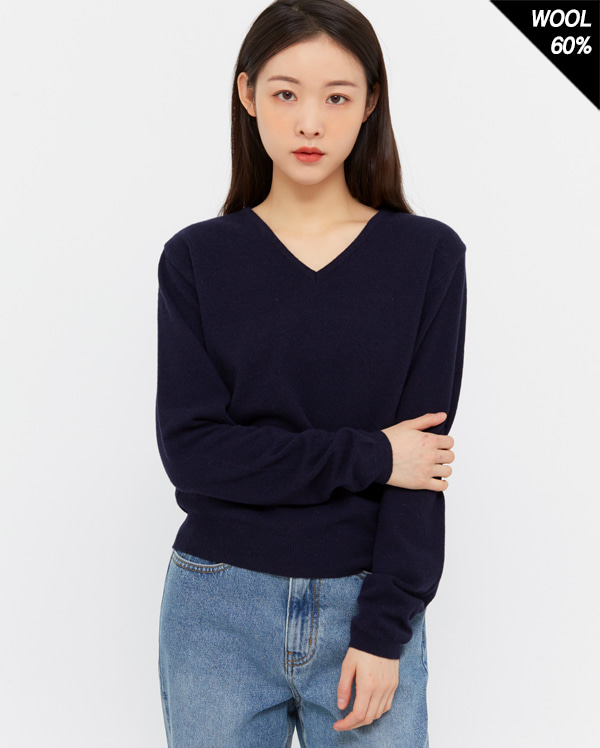 pure wool v-neck knit