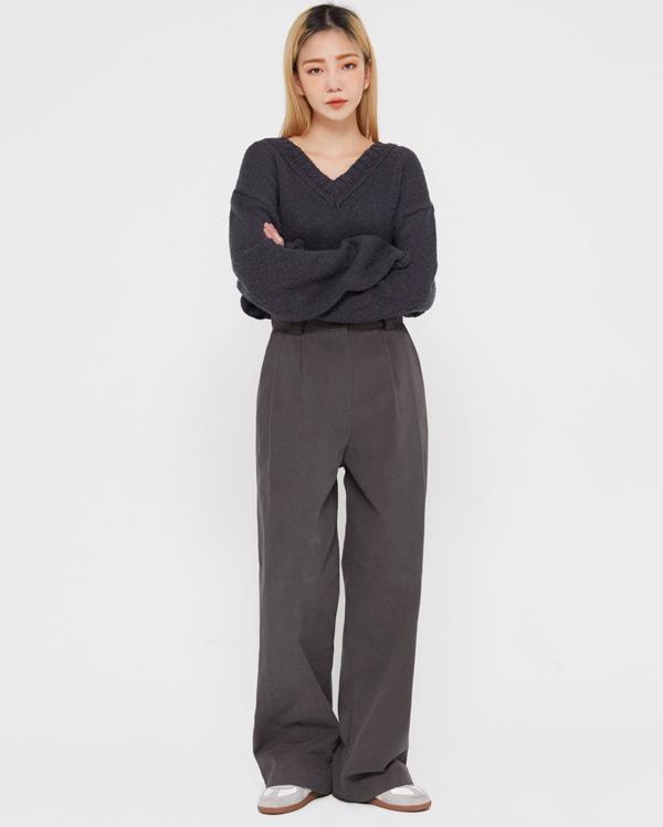 odd pintuck wide cotton pants (s, m)