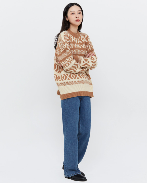 nordic pattern round knit