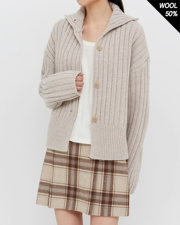 roll up wool cardigan