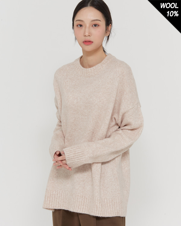 mixed over wool knit