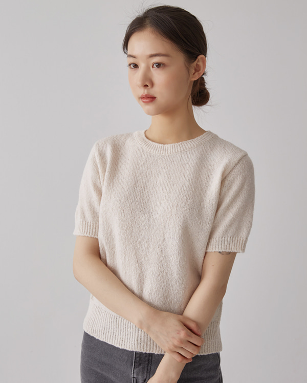 olive round short knit