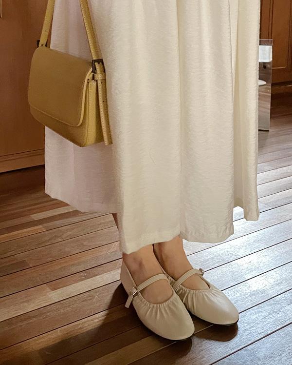 sleek shirring flat shoes (230-250)