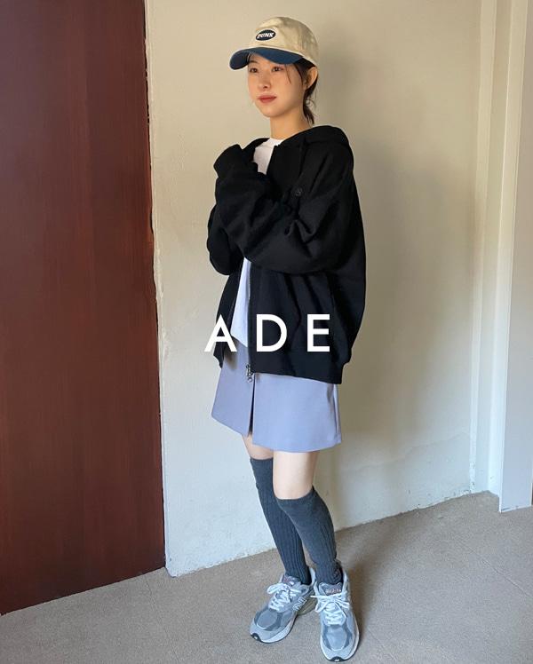 twin front slit mini skirt (s, m)