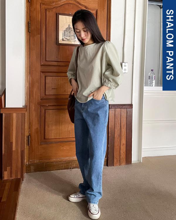 slow denim straight pants (s, m, l)