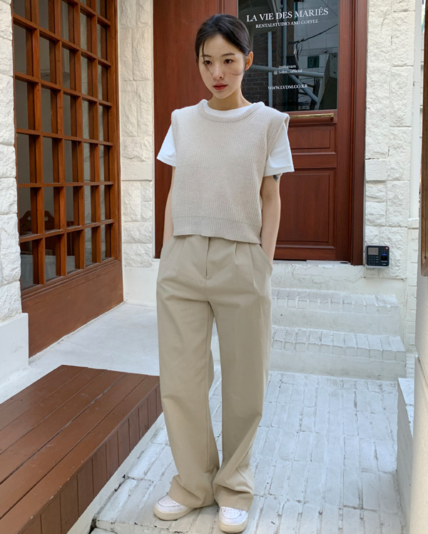 ray wide cotton pants (s, m)