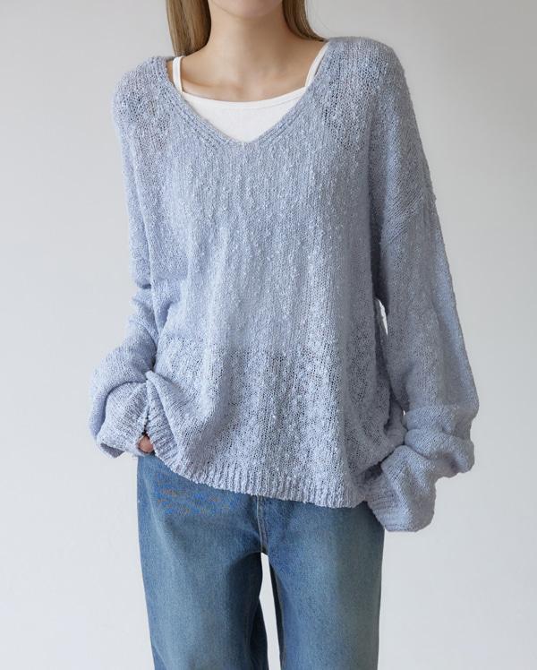 in fine v-neck knit