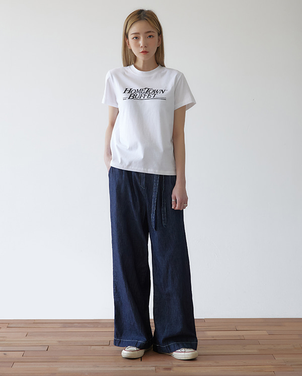 stitch line wide pants