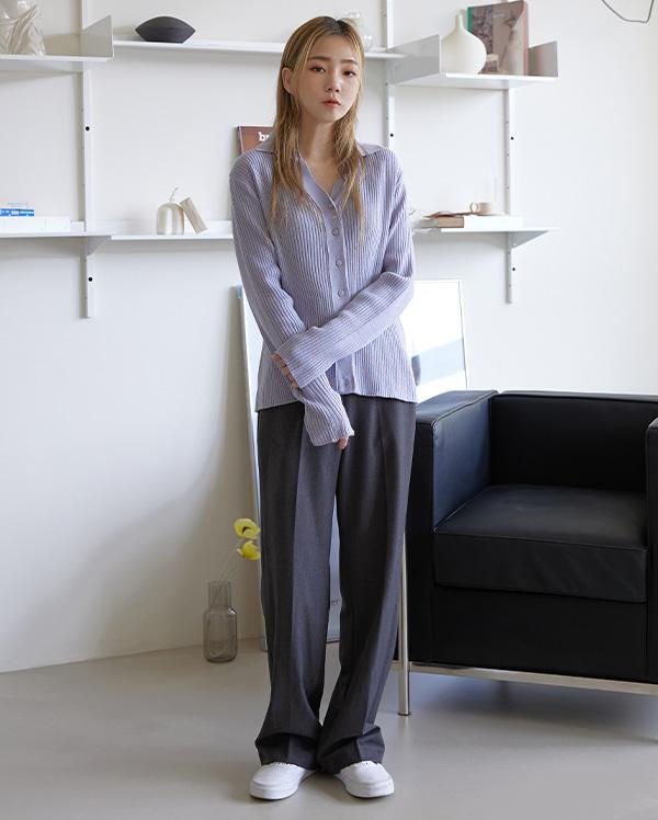 골지 카라 가디건 (4color)