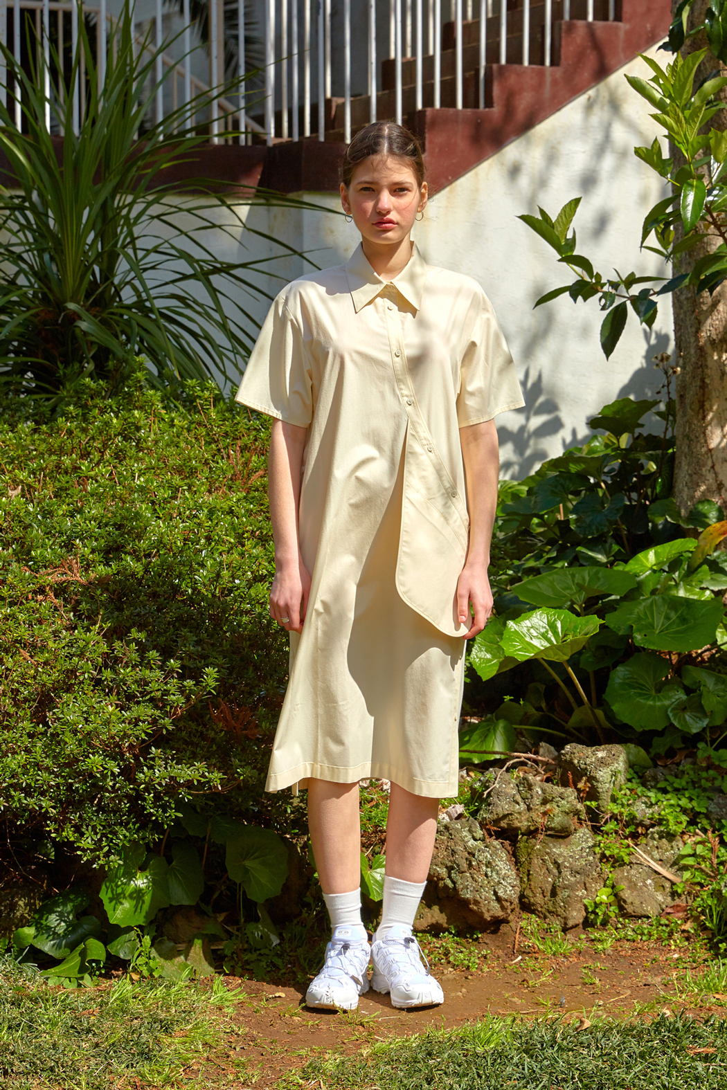 19 SUMMER LOCLE Pocket point shirts dress - cream