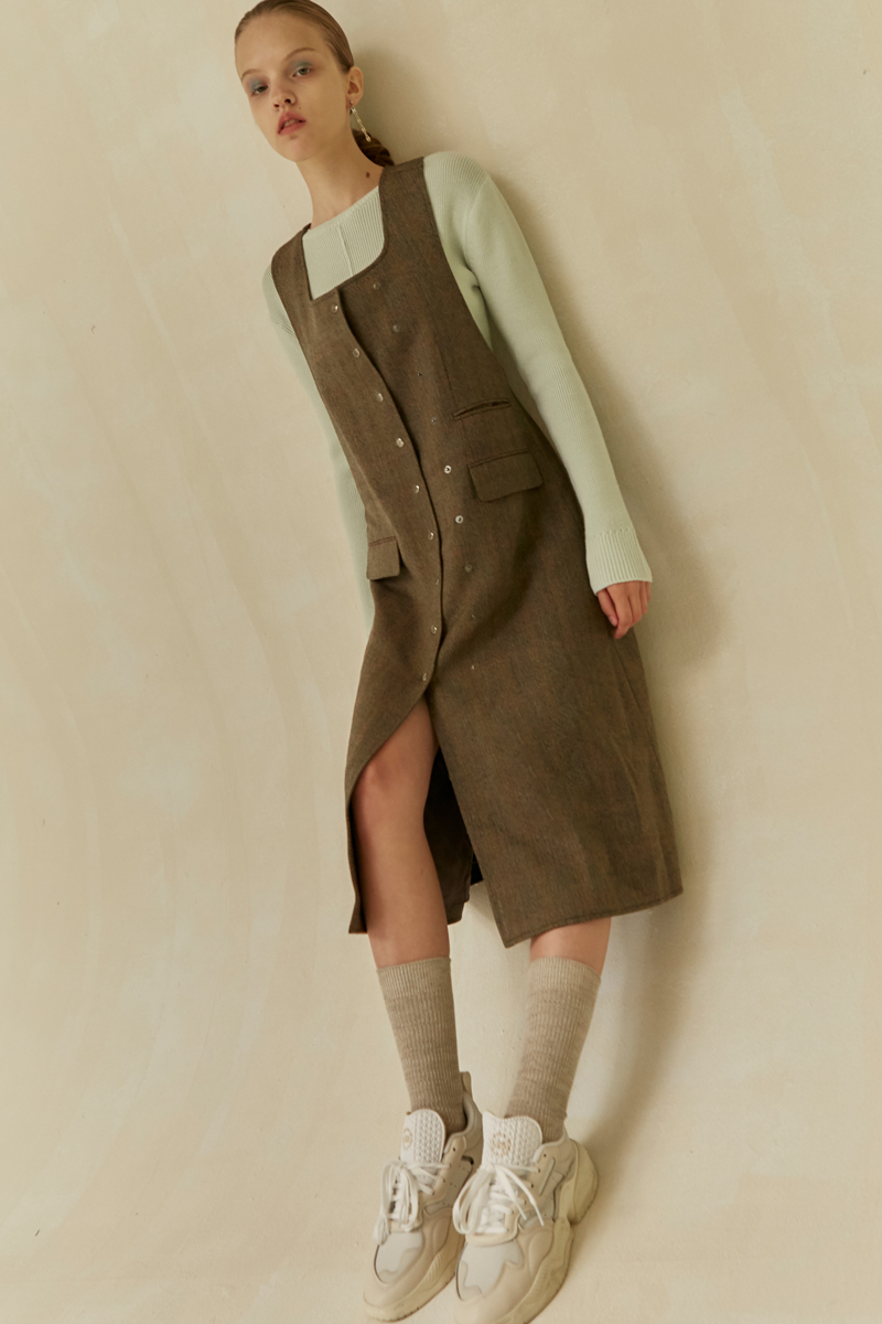 19 FALL LOCLE Snap dress - khaki check