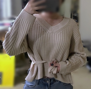 Self-Tie Back Ribbed Sweater
