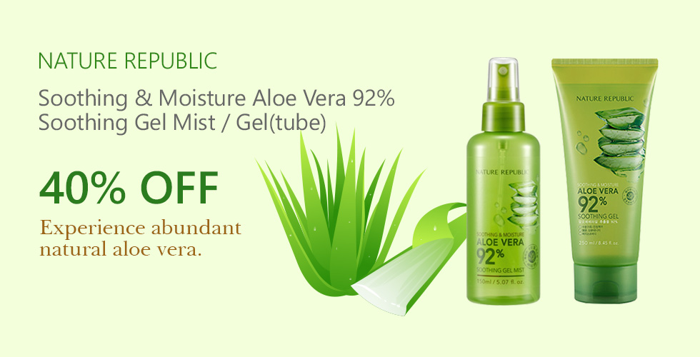 [NATURE REPUBLIC] Soothing & Moisture Aloe Vera 92% Soothing Gel Mist / Gel(tube) 40% OFF