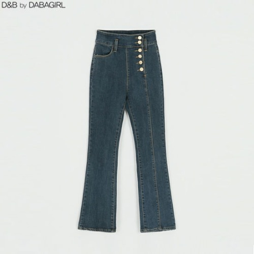 DABAGIRL Off-Center Button Crop Bootcut Jeans 1ea,Beauty Box Korea