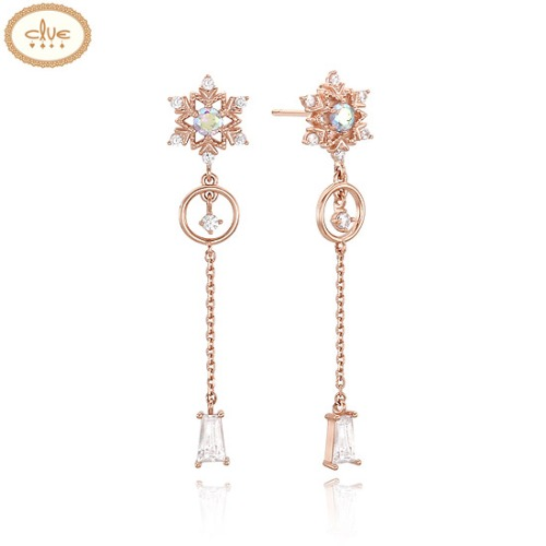 CLUE Frozen 2 Snow Flower Drop Silver Earrings (CLER19B0APPW) 1pair [CLUE X Disney]