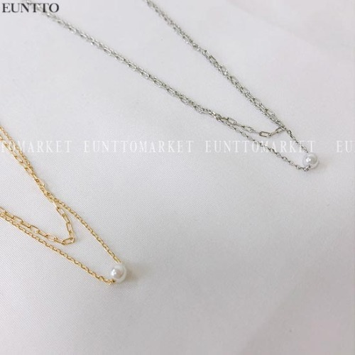 EUNTTO Slim Pearl Layered Necklace 1ea,Beauty Box Korea