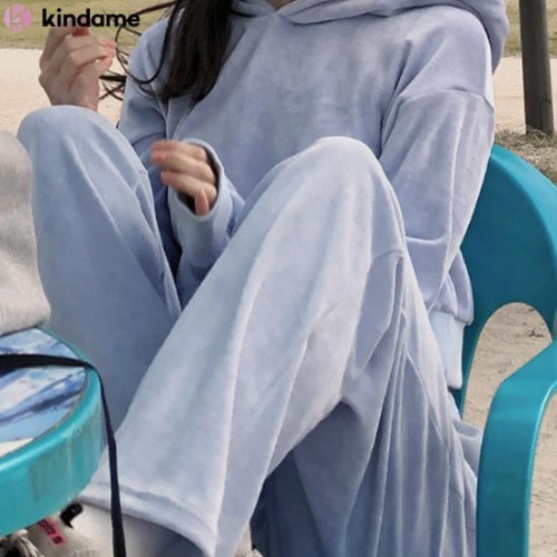 KINDAME Velour Sweatshirt+Pants Set 1ea,Beauty Box Korea