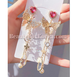 BLING STAR Cubic Heart Butterfly Drop Earrings 1pair,BLING STAR