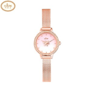 CLUE Frozen Gradient Snow Flower Second Hand Rose Gold Mesh Wristwatch (CL2G19B05MPP) 1ea [CLUE X Disney]