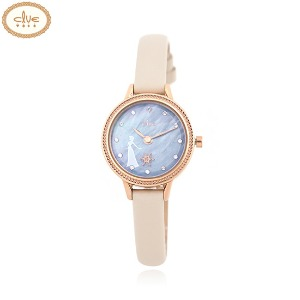 CLUE Frozen Elsa Snow Flower Moving Ivory Leather Wristwatch (CL2G19B04LPI) 1ea [CLUE X Disney]