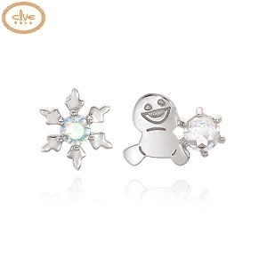 CLUE Frozen Snowgie Plain Snow Flower Silver Earrings (CLER19B0FPWW) 1pair [CLUE X Disney]