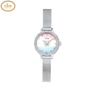 CLUE Frozen Gradient Snow Flower Second Hand Silver Mesh Wristwatch (CL2G19B05MWW) 1ea [CLUE X Disney]