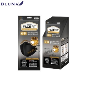 BLUNA Face Fit Mask KF94 Large Balck 30ea,Beauty Box Korea