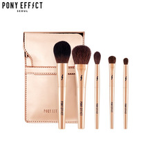 PONY EFFECT Mini Makeup Brush Set 5ea + Pouch 1ea [Travel Size Makeup Brush Set],PONY EFFECT