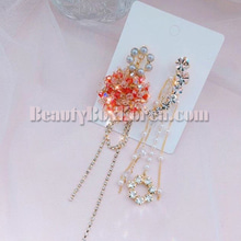 BLING STAR Beads Two-way Cubic Long Drop Earring,BLING STAR