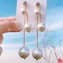 BLING STAR Two Way Pearl Drop Earrings 1pair,BLING STAR