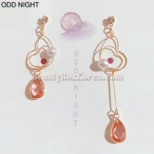 ODD NIGHT Peach Heart Unbalanced Long Earrings 1pair,Beauty Box Korea