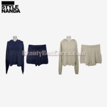 STYLENANDA Knit Hoodie and Drawstring Shorts 1Set,Beauty Box Korea