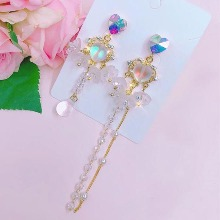 BLING STAR Cubic Heart Unbalanced Beads Drop Earrings 1pair,Beauty Box Korea